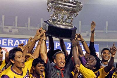 Salgaocar - Lifting the Federation cup after 14 years.
