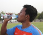Captain Jeje Lalpekhlua has a break during a practice session.