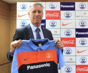 Wim Koevermans poses with the Indian National Football Team colours.