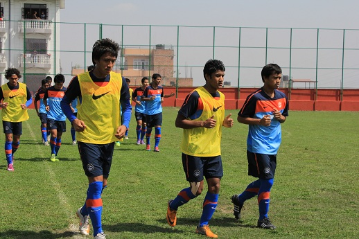 Indian Football Players during a training session
