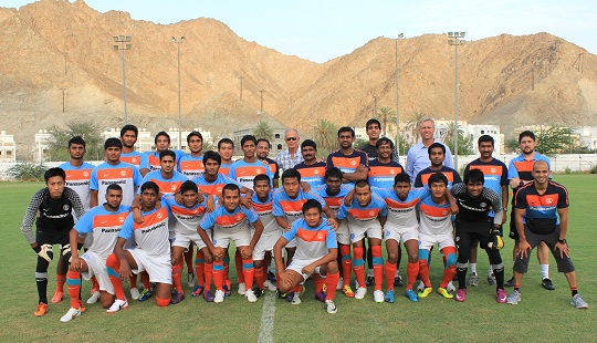 National Coach Wim Koevermans and Technical Director Rob Baan pose with the U-22 squad in Muscat.