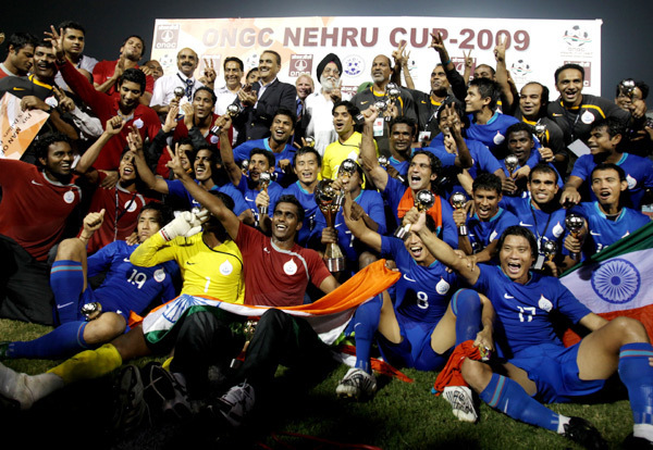 Indian team after winning Nehru Cup 2009