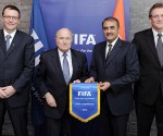 (From left) Mr. Thierry Regenass, Mr. Joseph Blatter, Mr. Praful Patel and Mr. Jerome Valcke pose after their meeting in Zurich on Wednesday.