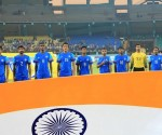 The Indian National Team during the National Anthem.