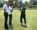 Armando Colaco explaining to Wim Koevermans and Pushpargha Chatterjee(AIFF Technical Dept)