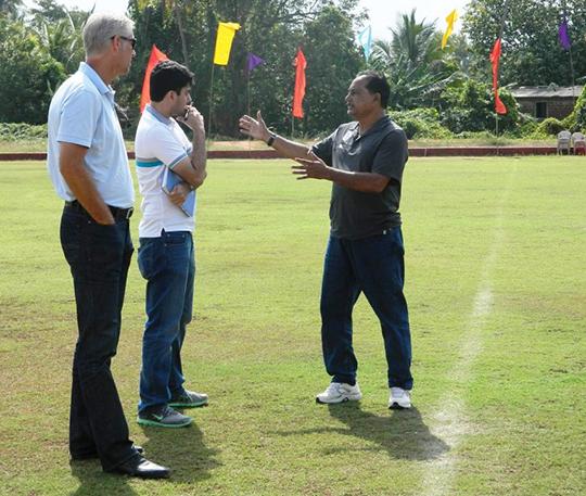 Armando Colaco explaining to Wim Koevermans and Pushpargha Chatterjee(AIFF Technical Dept)