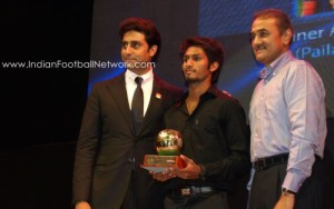 Alwyn George with Abhishek Bachchan and Prafull Patel