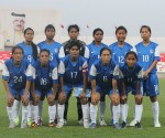 The Indian Women's Senior National Team pose for a Team Photograph prior to kickoff.