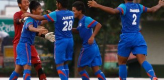 India U16 celebrating after win