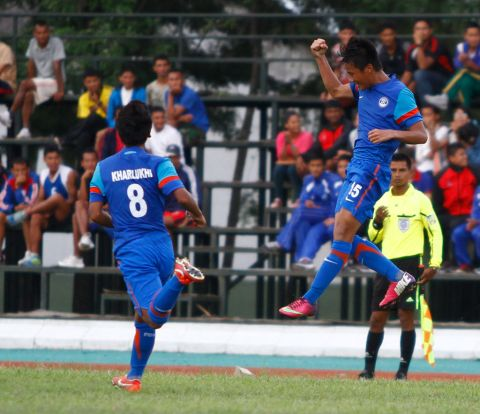 Bedashwor Singh celebrating his goal