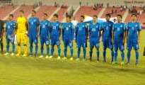 The Indian U-19 National Team during the National Anthem.