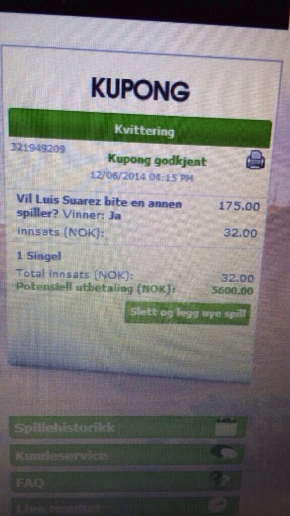 Norwegian gets rich Suarez bite