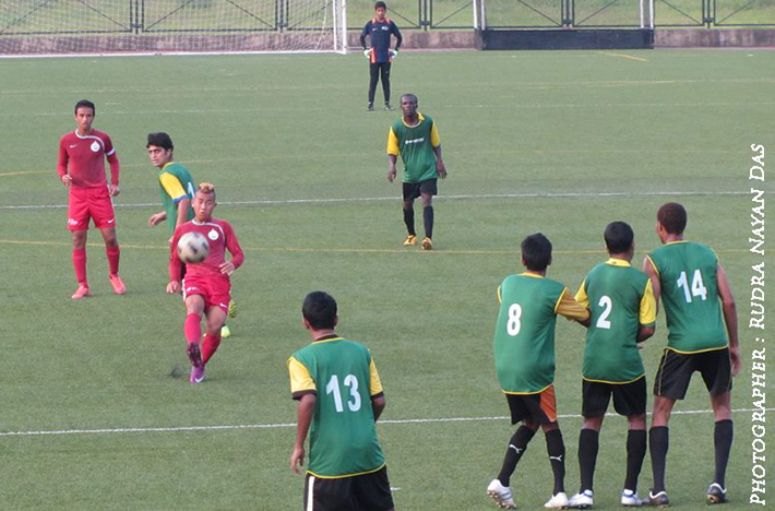 Bidyananda Singh taking a free kick