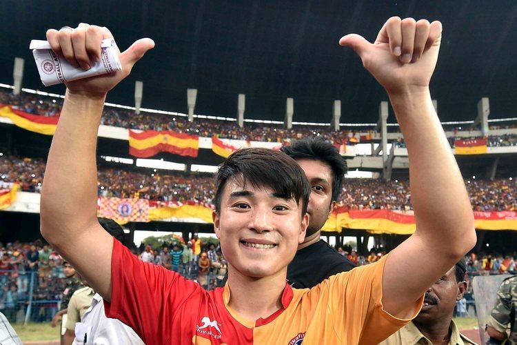 East Bengal player Do Dong-hyun celebrates after scoring 2 goals against Mohun Bagan