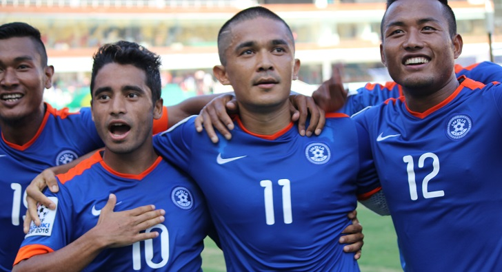 Sunil Chhetri Celebrates Goal against Maldives