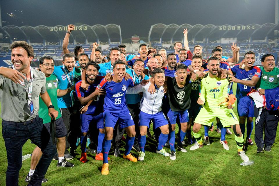 Bengaluru FC celebrate after qualifying for the AFC cup final