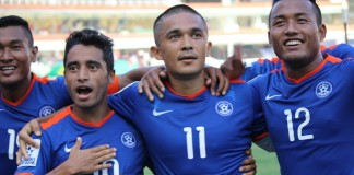 Sunil Chhetri Celebrates Goal against Maldives